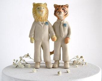 lion and tiger whimsical wedding cake topper - groom and groom - husband and husband