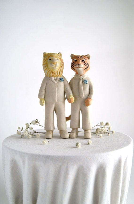 lion and tiger whimsical wedding cake topper - groom and groom - husband and husband