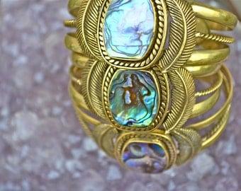 Ella Abalone Cuff|Mermaid Cuff|Heart Majestic|Abalone Cuff|Abalone Jewelry|Gold Abalone Cuff|Mermaid|Mermaid Jewelry|Mermaid Bracelet|Cuff