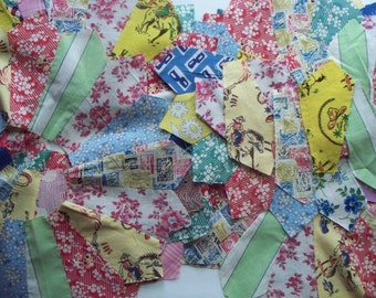 Vintage Fabric - Dresden Plate Quilt Blocks - Feedsacks - 1940s - Lot - 9 Plates and extra bonus wedges