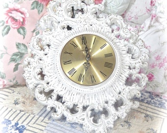 Gorgeous SHABBY Vintage Winter White Romantic ROSES Scrolled Romantic Large Wall CLOCK Cottage Chic