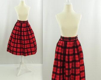 Christmas Party Full Skirt - Vintage 1980s Taffeta Red + Black Plaid Skirt in Small Medium
