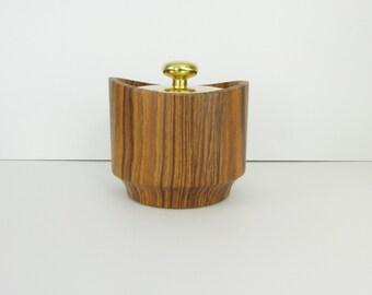 Mid Century Wood Ice Bucket - Vintage 1960s Faux Wooden Retro Barware by Kraftware