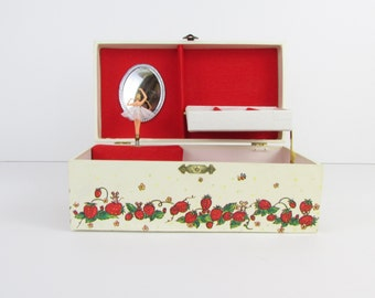 Strawberry Fields Ballerina Jewelry Box - Vintage 1970s Musical Jewelry Storage