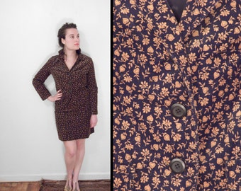 1960s MADISON Suit Corduroy Skirt Blazer Black Tan Floral Small