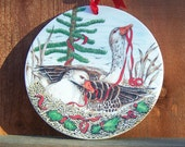"""Vintage 80's """"HOLiDAY WALL ORNAMENT or PLAQUE"""" in a Geese / Duck Design"""