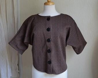 Vintage Jacket 80s does the 60s Top Houndstooth Print Spring Brown Sz Medium Crop Sleeve