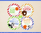 Sports Valentine Stickers - Sports Favor Stickers - Valentines Day Stickers - Personalized Kids Valentine Stickers - Digital and Printed