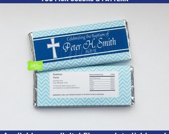 Christening Chocolate Bar Wrapper - Baptism Candy Wrapper - Chocolate Bar Wrapper - Cross Candy Bar Wrappers - You Pick Pattern & Colors