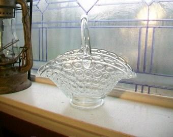 Large Glass Basket Vintage 1000 Circle Pattern