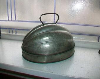 Vintage Tin Pudding Mold Melon Ribbed Bale Handles Farmhouse Decor
