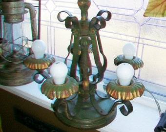 Vintage 5 Light Ceiling Light Fixture Retro Cottage Chic Chandelier Art Nouveau