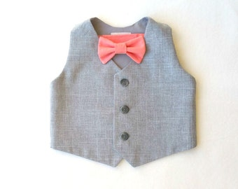 Heather and Coral, Vest and Bow Tie, Baby Vest and Tie, Ring Bearer, Toddler Vest Set, Baby Vest Set, Waistcoat and Tie, Heather Gray Vest