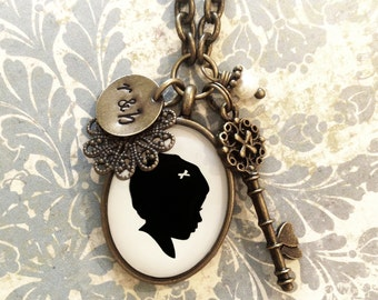 Mother's Day Custom Brass Silhouette Necklace with Skeleton Key Charm, Stamped tag and Pearl Dangle for Mother