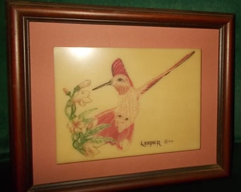 Red Bellied Woodpecker Artist Leeper Etched and Hand Colored Marble Plaque In Wood Frame WODI Knoxville Tennessee Wall Hanging