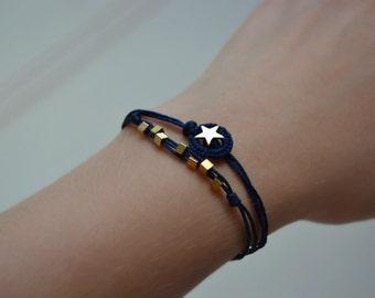 gold star bracelet, constellation jewelry, space jewelry, blue and gold friendship bracelet, galaxy planet jewelry, everyday bracelet