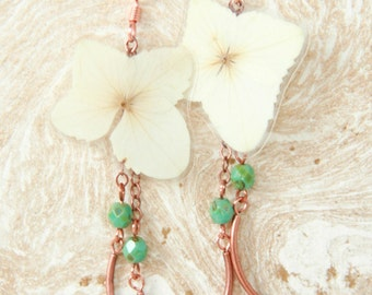 Natural Petal Jewelry - White Hydrangea Pressed Flower Earrings with Copper & Turquoise Glass Beads