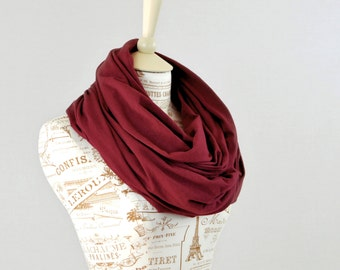 Maroon Infinity Scarf, Gifts for Friends Burgundy Scarf, Red Circle Scarf Womens Scarf, Spring Scarf, Gift for Her Wife Gift Girlfriend Gift