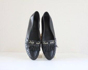Vintage Black Leather Fringe Loafers Sz 8.5N