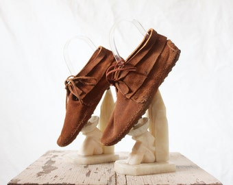 Vintage Minnetonka Suede Toffee Moccasin Boots Sz 8