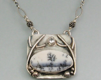 Dendritic agate necklace - woodland landscape necklace - artisan jewelry - metalsmith OOAK gemstone necklace - winter forest necklace