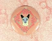 Siamese cat magnet - cat refrigerator magnet - large fridge magnet - siamese cat gift - flower pattern magnet