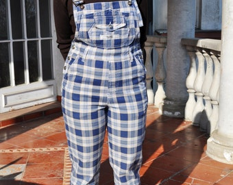 Vintage Blue and Beige Plaid Overalls Grunge Bib Dungarees