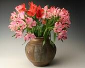 round vase with line carving, flower vase, ceramic vase, pottery vase,vase for flowers, rustic vase, decorative vase, vase with a big belly