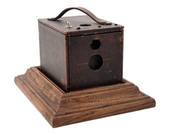 Antique Camera Secret Box, Stash Box with Display Base, repurposed Vintage Kodak No. 2, Flexo Kodak Box Camera