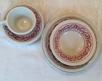 Red Shenango China 5 piece set dinner ware. Dinner & salad plates, cereal bowl, coffee cup and saucer each set. Three sets available.