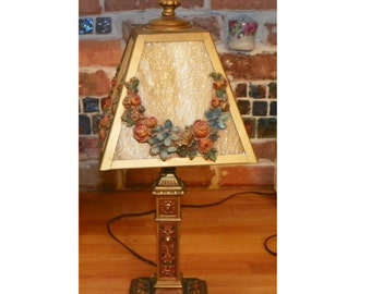 Antique Victorian Lamp Slag Glass Stained Boudoir North Wind Nouveau Light Flower Garland Metal