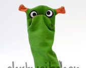 grumbler monster hand puppet made of organic cotton