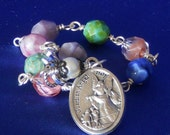 Cherub Multi Color Czech Glass Rosary Bracelet Guardian Angel Decade Rear View Mirror Rosary Car Rosary Traveler Prayer Beads (MCRB-012516)