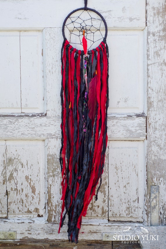 Wall Decorations Boho : Dreamcatcher black and red boho wall decor chic gypsy