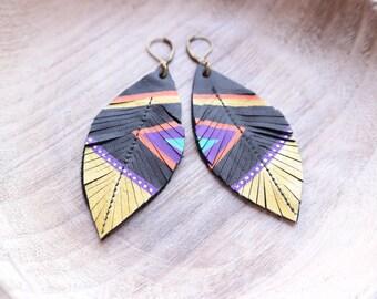 Aztec Leather Earrings