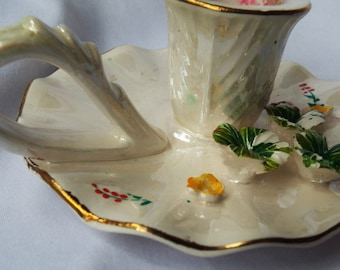 Vintage Lusterware Candle Holder with Lily Pads PR-1380