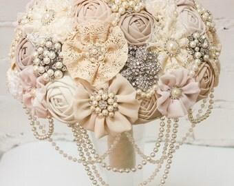 Brooch Bouquet. Ivory Fabric Bouquet, Vintage Bouquet, Rustic Bouquet, Unique Wedding Bridal Bouquet