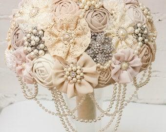 Brooch Bouquet Ivory Fabric Vintage Rustic Unique Wedding Bridal