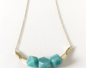 NEW Triple Faceted Amazonite with Brass on 14k Goldfilled Necklace, Gifts for Her, Bridesmaids