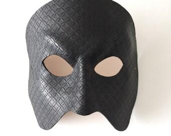 Black Full Face Patterned Leather Phantom of the Opera Mask