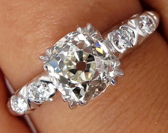 GIA Art Deco 1.43ctw Old Mine Cushion Solitaire Diamond Wedding ENGAGEMENT Platinum Ring