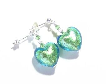 Murano Glass Green Heart Silver Earrings, Venetian Jewelry, Post Earrings, Leverback Earrings, Clip On Earrings, Lampwork Glass