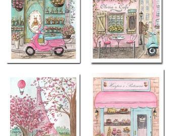 Paris Decor, Personalized Prints, Set Of 4, Paris Patisserie, Paris Themed Party Gift Idea, Best Gift Little Girl, Fine Art Prints, 6 Sizes
