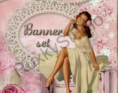 Shop Banner Set shop icon,banner,avatar,custom order,reserved -pinup girl,jewelry,pearls