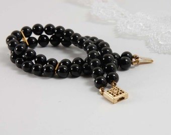 Black Onyx Bracelet Double Strand Bracelet Black Beaded Bracelet Gold Bracelet Gifts for Her Gifts for Mom