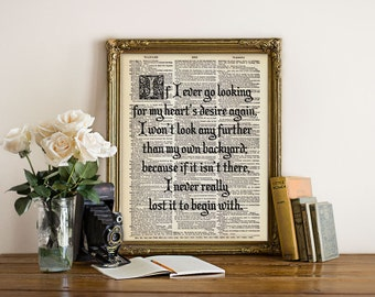 Wizard of OZ Home Quote Dictionary Art Print Poster Typography Calligraphy Black and White Decor Antique Book Page 8x10 11x14 A3 +More Sizes
