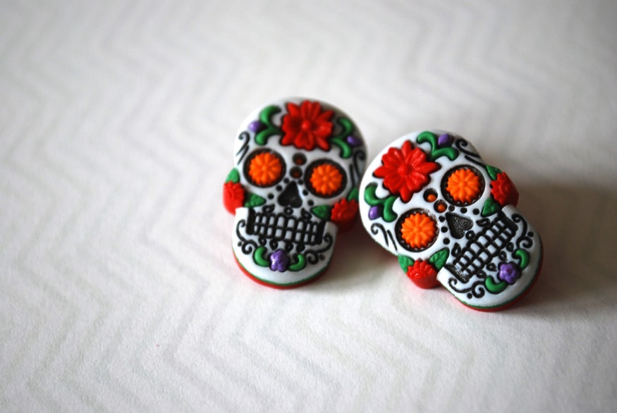Day of the Dead Sugar Skull Stud Earrings