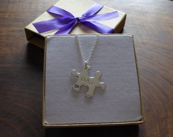 Puzzle Pendant Necklace with DAD and HERO Stamped