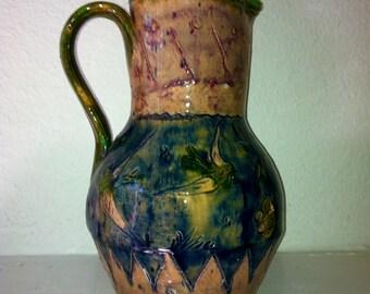 SALE Take 15% Off, Vintage Redware Pitcher Birds, Vines, Butterfly, Folk Art, Excellent condition, Artisan Glazed OOAK