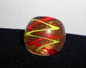 Red and Yellow ZigZag Gold Glitter Glass Ring
